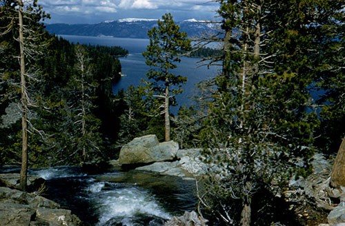 Spring runoff water pouring down towards Lake Tahoe.