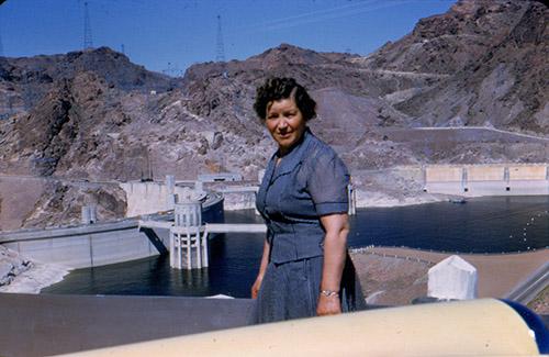 Grandma at the Boulder Dam south of Las Vegas.
