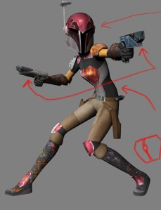 Sabine Wren - a character from Star Wars Rebels dressed in Mandolorian gear.